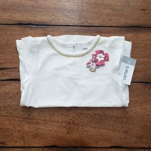 NWT 3T white tee with flowers